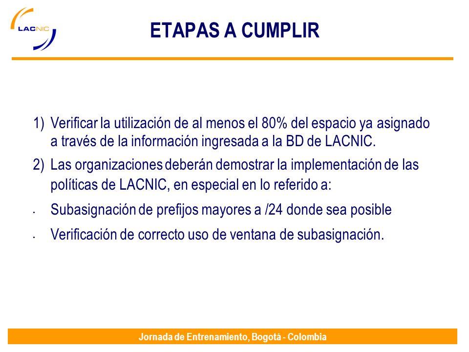 Jornada de Entrenamiento, Bogotá - Colombia ETAPAS A CUMPLIR 1)Verificar la utilización de al menos el 80% del espacio ya asignado a través de la info