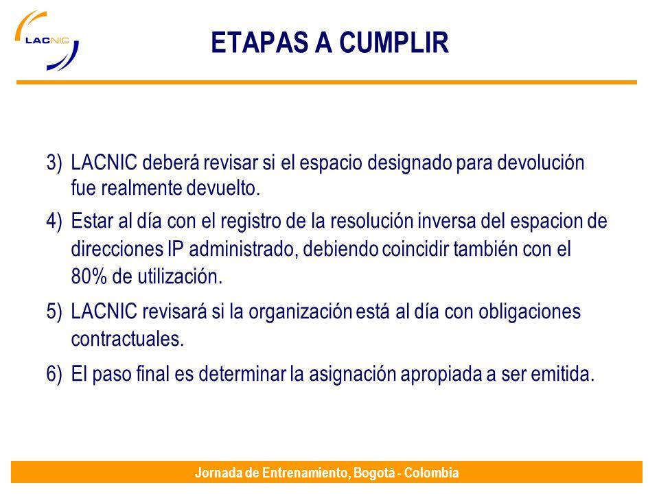 Jornada de Entrenamiento, Bogotá - Colombia ETAPAS A CUMPLIR 3)LACNIC deberá revisar si el espacio designado para devolución fue realmente devuelto. 4