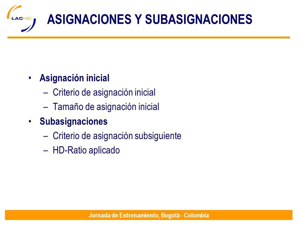 Jornada de Entrenamiento, Bogotá - Colombia ASIGNACIONES Y SUBASIGNACIONES Asignación inicial –Criterio de asignación inicial –Tamaño de asignación in
