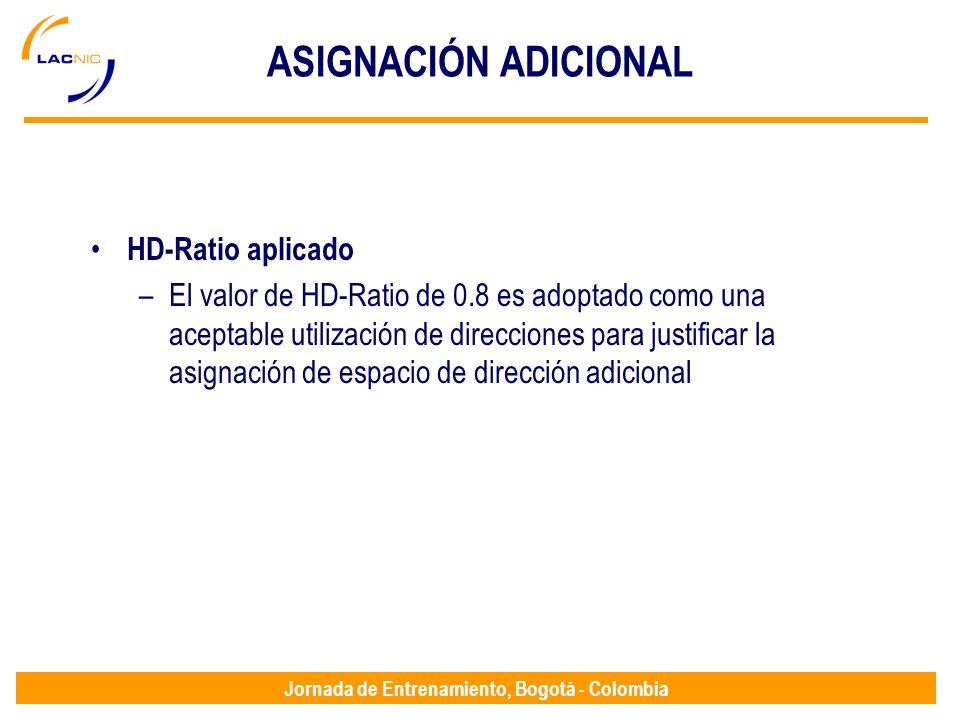 Jornada de Entrenamiento, Bogotá - Colombia ASIGNACIÓN ADICIONAL HD-Ratio aplicado –El valor de HD-Ratio de 0.8 es adoptado como una aceptable utiliza