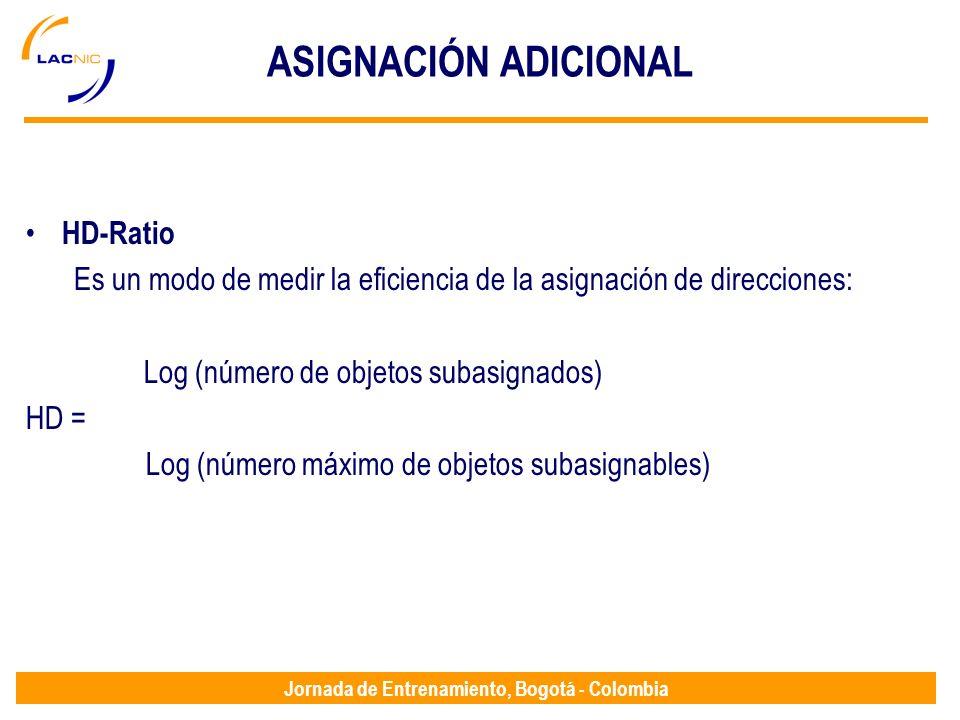 Jornada de Entrenamiento, Bogotá - Colombia ASIGNACIÓN ADICIONAL HD-Ratio Es un modo de medir la eficiencia de la asignación de direcciones: Log (núme