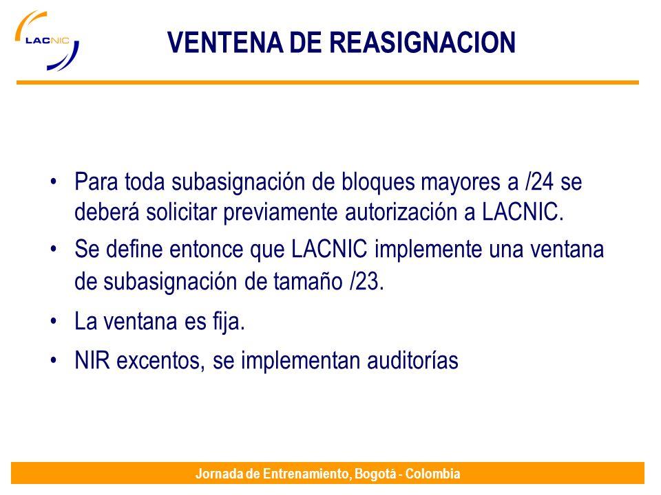 Jornada de Entrenamiento, Bogotá - Colombia VENTENA DE REASIGNACION Para toda subasignación de bloques mayores a /24 se deberá solicitar previamente a