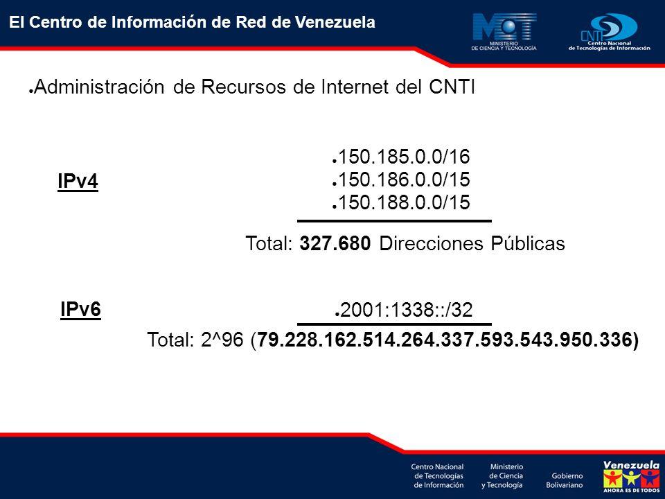 El Centro de Información de Red de Venezuela Administración de Recursos de Internet del CNTI IPv4 IPv6 150.185.0.0/16 150.186.0.0/15 150.188.0.0/15 To