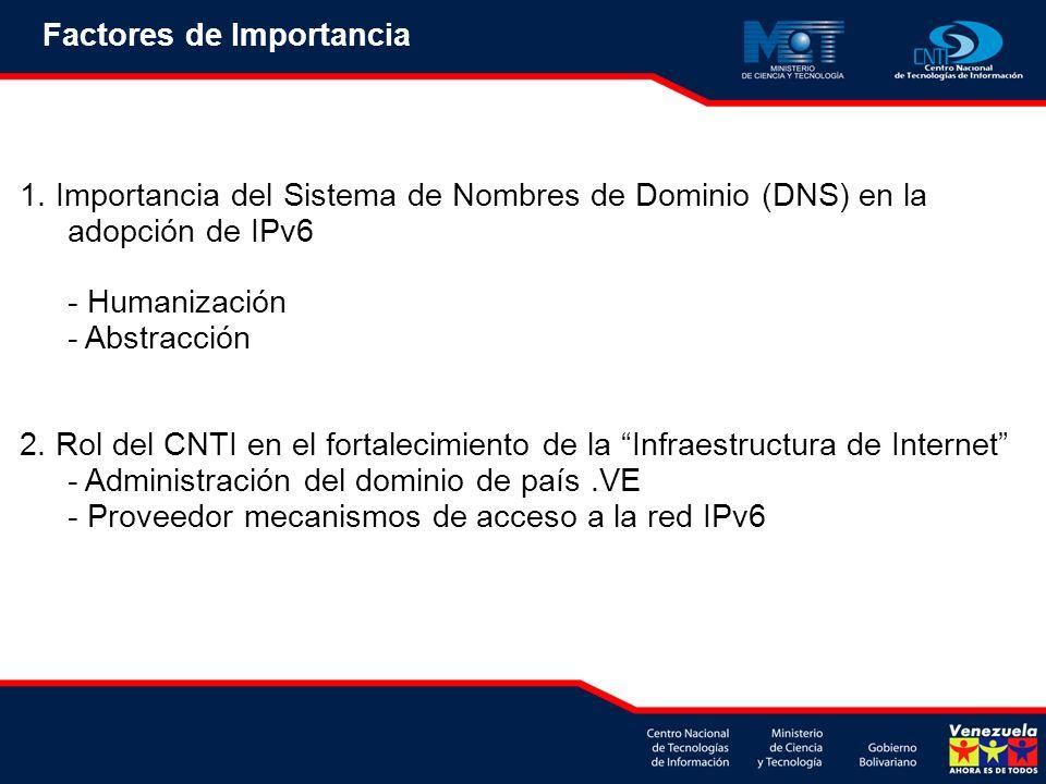 Factores de Importancia 1. Importancia del Sistema de Nombres de Dominio (DNS) en la adopción de IPv6 - Humanización - Abstracción 2. Rol del CNTI en