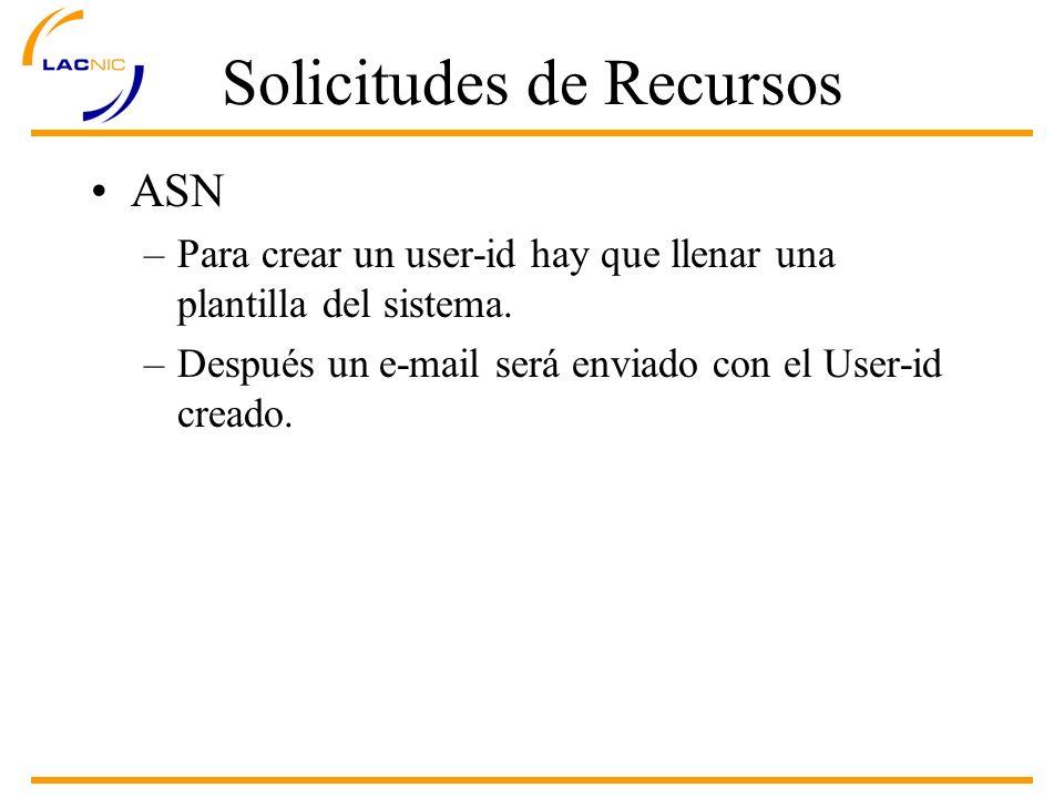 Solicitudes de Recursos ASN –Para crear un user-id hay que llenar una plantilla del sistema.