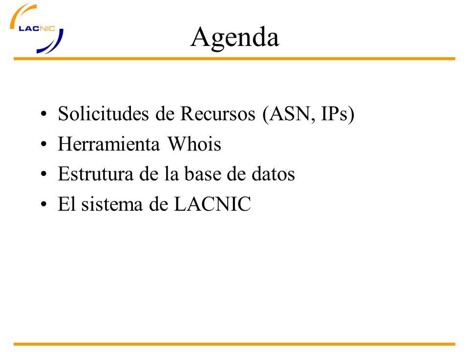 Solicitudes de Recursos Recursos asignados por LACNIC: –ASN (26592-26623 y 27648-28671) –IPv4 (200.0.0.0/8) –IPv6 (2001:1200::/23)