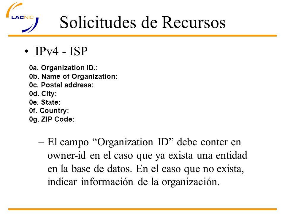 Solicitudes de Recursos IPv4 - ISP 0a. Organization ID.: 0b.