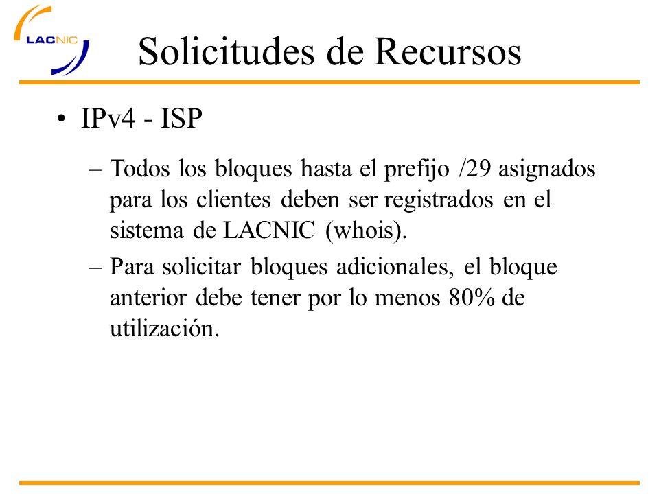 Solicitudes de Recursos IPv4 - ISP –Todos los bloques hasta el prefijo /29 asignados para los clientes deben ser registrados en el sistema de LACNIC (whois).