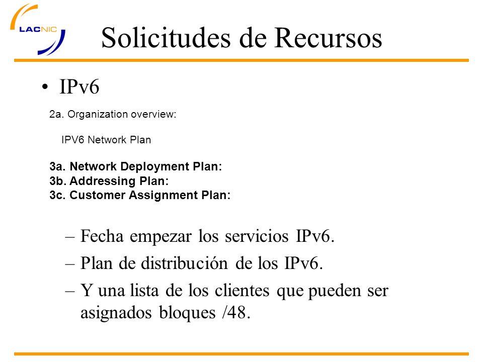 Solicitudes de Recursos IPv6 2a. Organization overview: IPV6 Network Plan 3a.