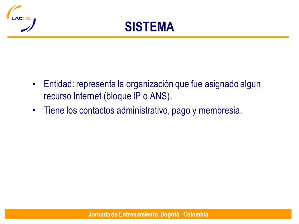 Jornada de Entrenamiento, Bogotá - Colombia SISTEMA Entidad: representa la organización que fue asignado algun recurso Internet (bloque IP o ANS). Tie