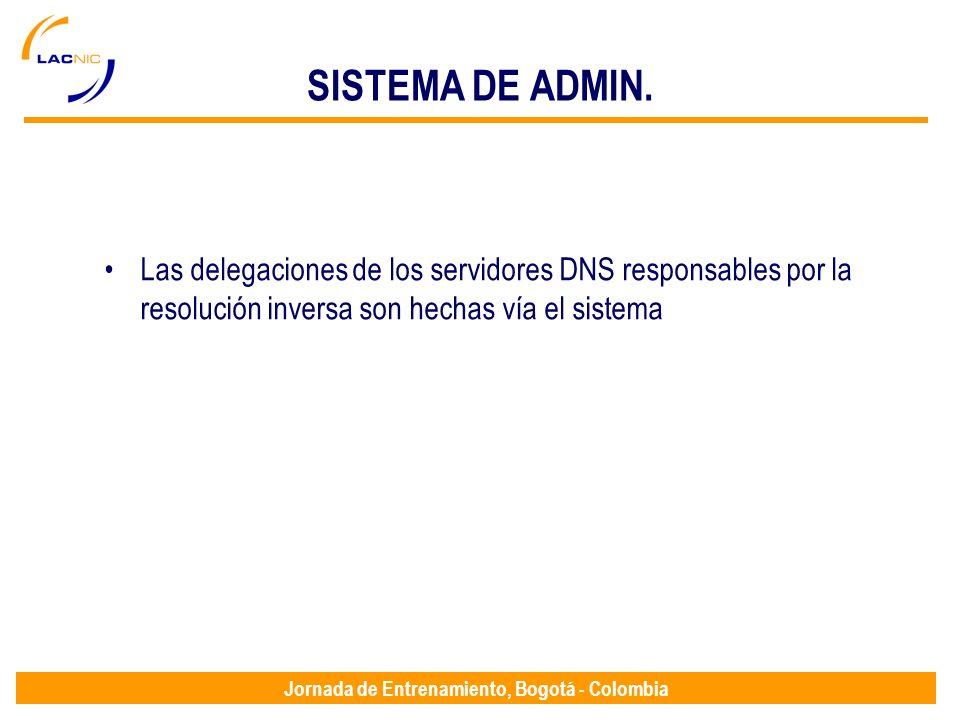 Jornada de Entrenamiento, Bogotá - Colombia SISTEMA DE ADMIN. Las delegaciones de los servidores DNS responsables por la resolución inversa son hechas