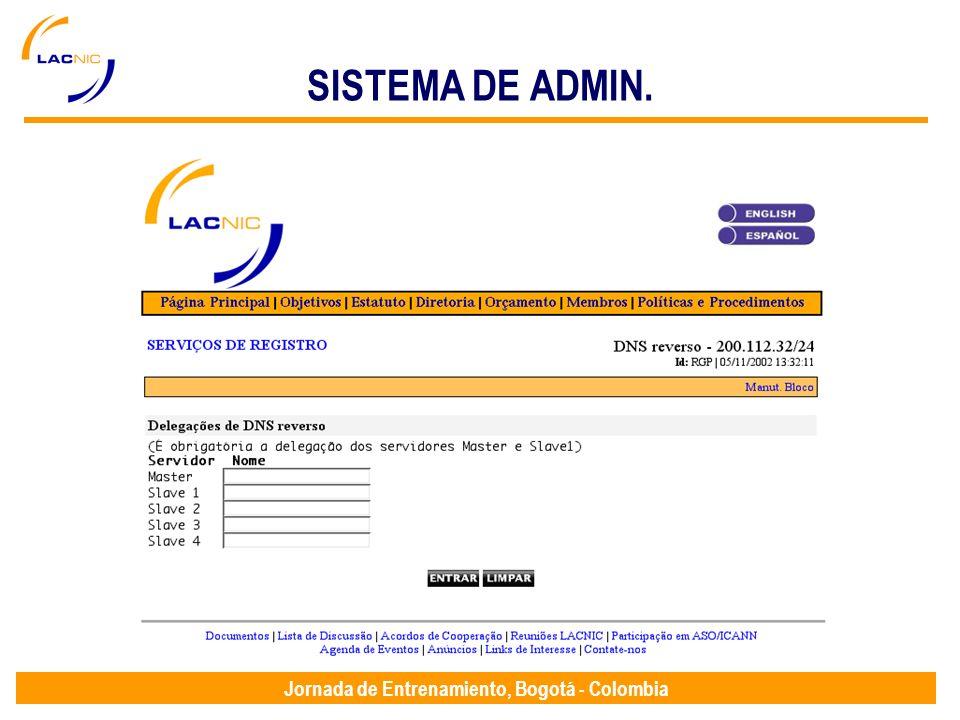 Jornada de Entrenamiento, Bogotá - Colombia SISTEMA DE ADMIN.