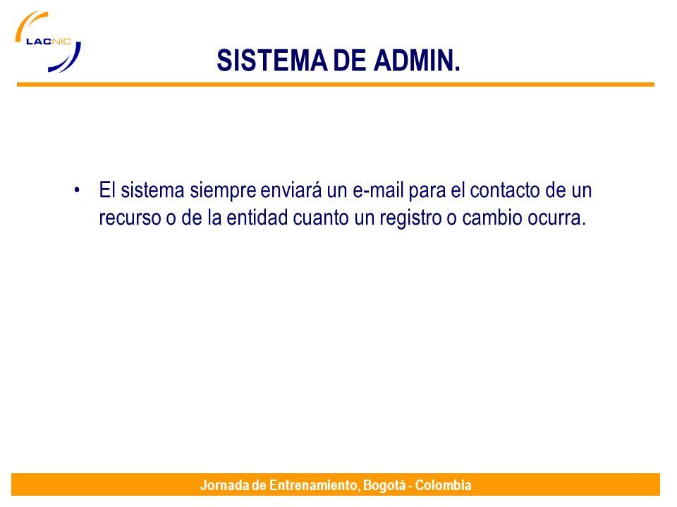 Jornada de Entrenamiento, Bogotá - Colombia SISTEMA DE ADMIN. El sistema siempre enviará un e-mail para el contacto de un recurso o de la entidad cuan