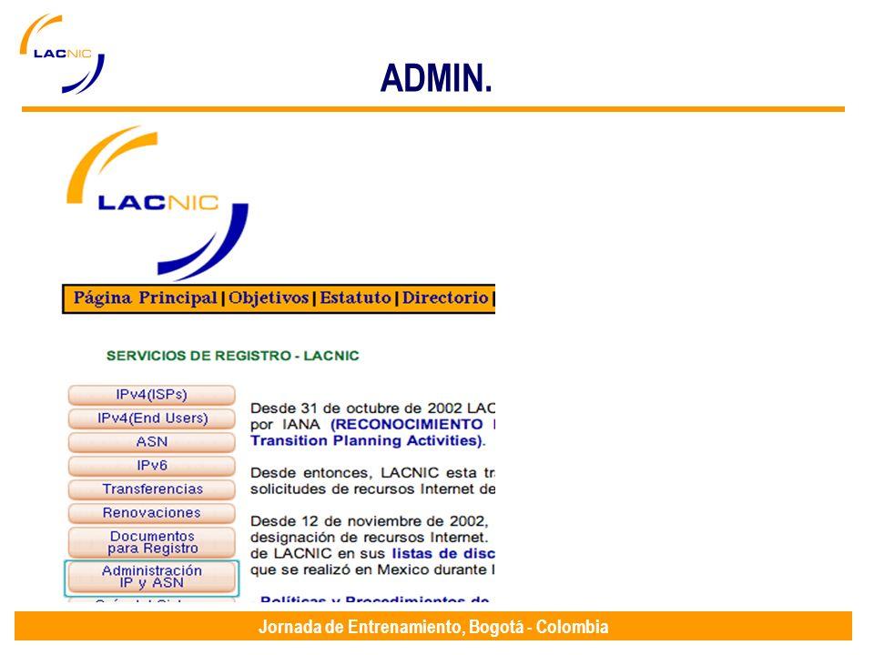 Jornada de Entrenamiento, Bogotá - Colombia ADMIN.