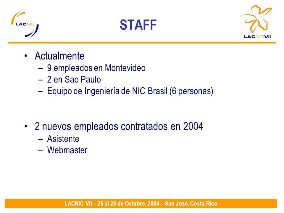 LACNIC VII – 26 al 28 de Octubre, 2004 – San José, Costa Rica Actualmente –9 empleados en Montevideo –2 en Sao Paulo –Equipo de Ingeniería de NIC Brasil (6 personas) 2 nuevos empleados contratados en 2004 –Asistente –Webmaster STAFF