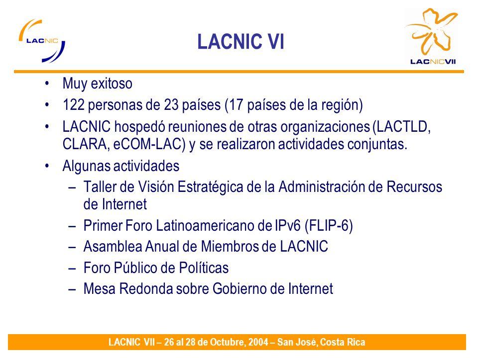 LACNIC VII – 26 al 28 de Octubre, 2004 – San José, Costa Rica LACNIC VI Muy exitoso 122 personas de 23 países (17 países de la región) LACNIC hospedó reuniones de otras organizaciones (LACTLD, CLARA, eCOM-LAC) y se realizaron actividades conjuntas.
