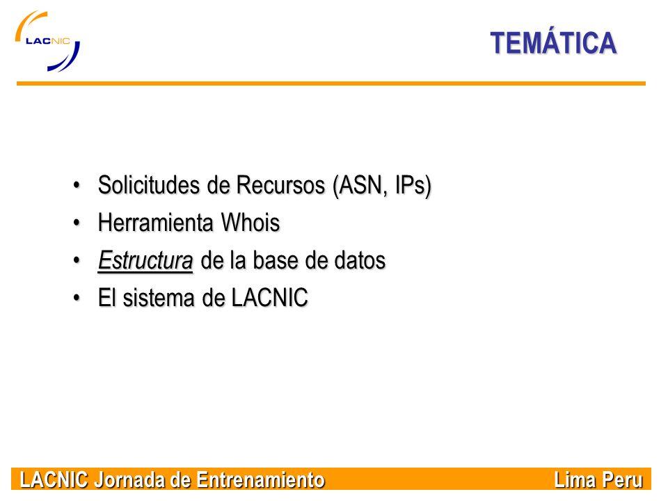 LACNIC Jornada de Entrenamiento Lima Peru TEMÁTICA Solicitudes de Recursos (ASN, IPs)Solicitudes de Recursos (ASN, IPs) Herramienta WhoisHerramienta W