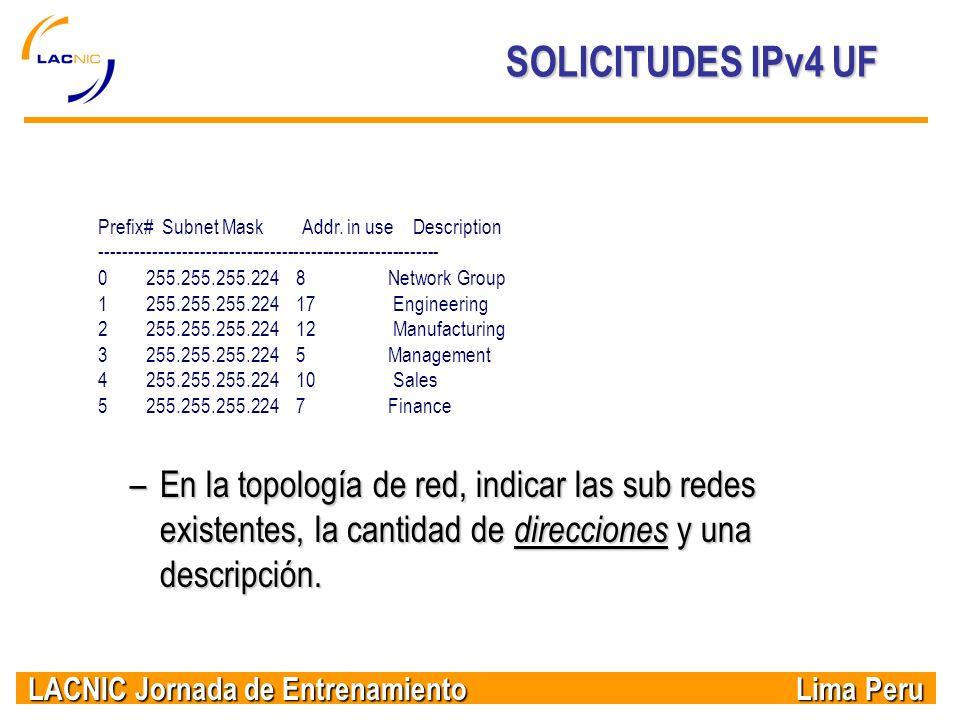 LACNIC Jornada de Entrenamiento Lima Peru SOLICITUDES IPv4 UF Prefix# Subnet Mask Addr. in use Description -------------------------------------------