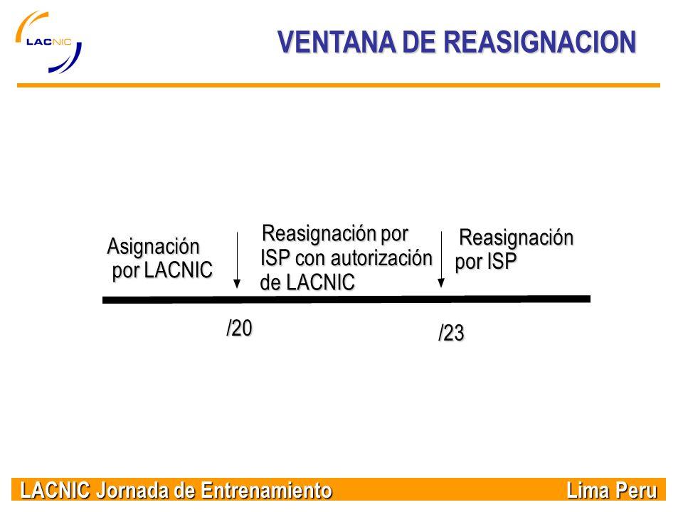 LACNIC Jornada de Entrenamiento Lima Peru VENTANA DE REASIGNACION /23 /20 Asignación por LACNIC Reasignación por ISP con autorización de LACNIC Reasig