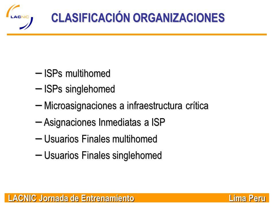 LACNIC Jornada de Entrenamiento Lima Peru CLASIFICACIÓN ORGANIZACIONES – ISPs multihomed – ISPs singlehomed – Microasignaciones a infraestructura crít