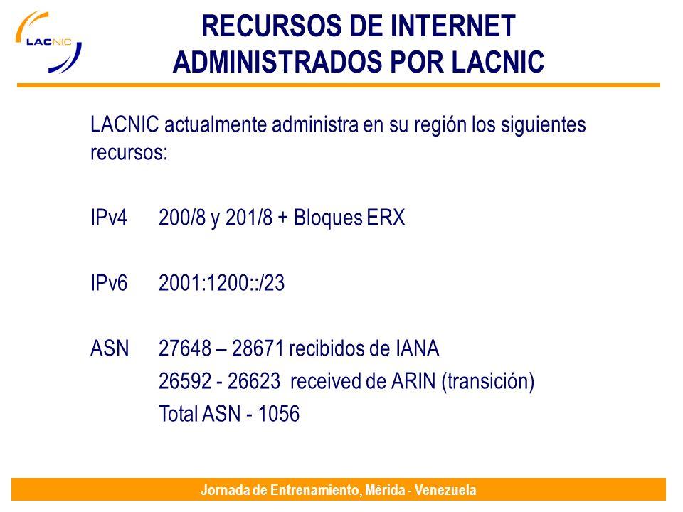 Jornada de Entrenamiento, Mérida - Venezuela RECURSOS DE INTERNET ADMINISTRADOS POR LACNIC LACNIC actualmente administra en su región los siguientes recursos: IPv4200/8 y 201/8 + Bloques ERX IPv62001:1200::/23 ASN27648 – 28671 recibidos de IANA 26592 - 26623 received de ARIN (transición) Total ASN - 1056
