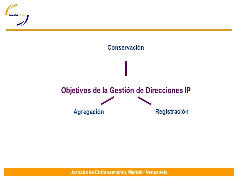 Jornada de Entrenamiento, Mérida - Venezuela Objetivos de la Gestión de Direcciones IP ConservaciónRegistraciónAgregación