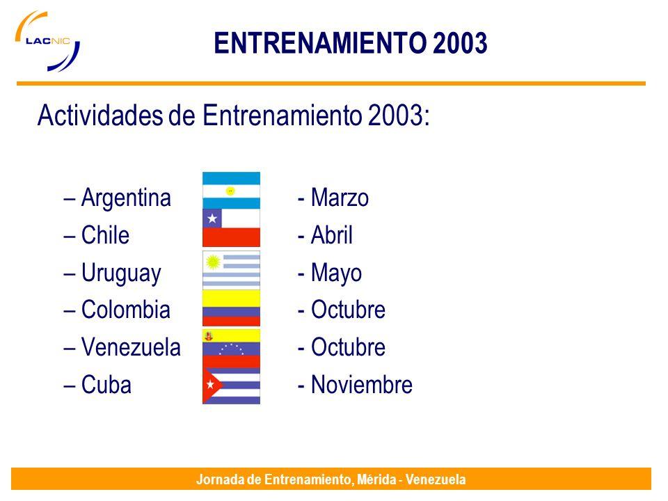 Jornada de Entrenamiento, Mérida - Venezuela ENTRENAMIENTO 2003 Actividades de Entrenamiento 2003: – Argentina - Marzo – Chile- Abril – Uruguay- Mayo – Colombia - Octubre – Venezuela- Octubre – Cuba - Noviembre