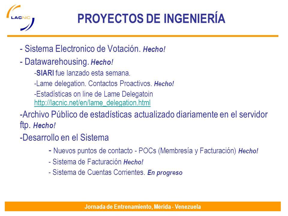 Jornada de Entrenamiento, Mérida - Venezuela PROYECTOS DE INGENIERÍA - Sistema Electronico de Votación.