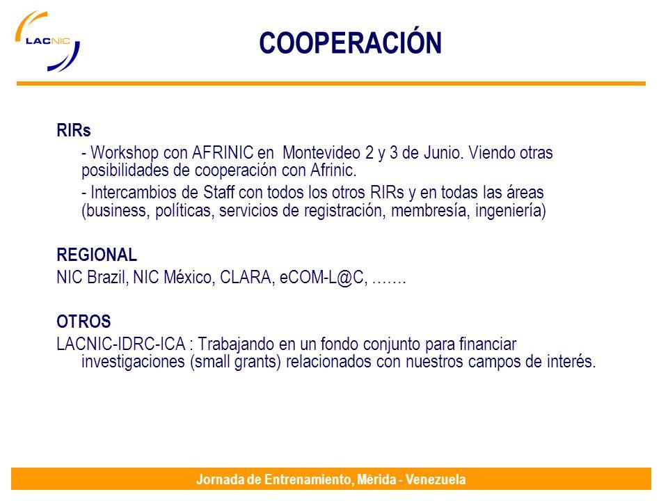 Jornada de Entrenamiento, Mérida - Venezuela RIRs - Workshop con AFRINIC en Montevideo 2 y 3 de Junio.