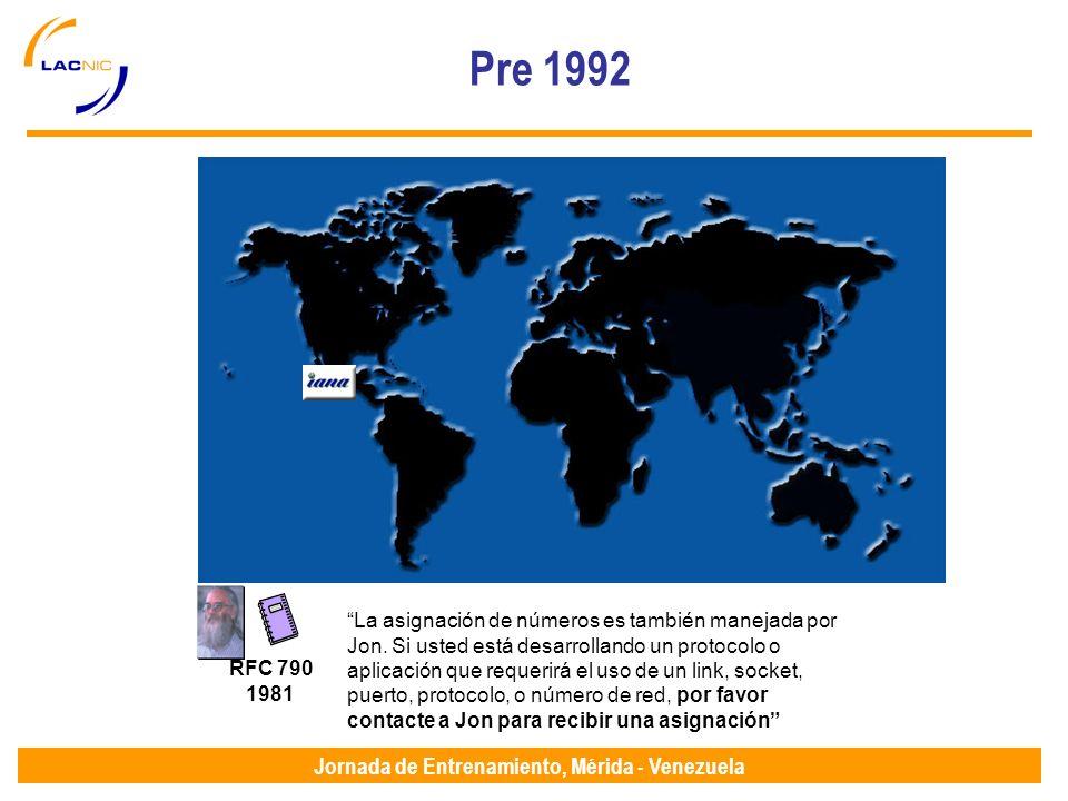 Jornada de Entrenamiento, Mérida - Venezuela Pre 1992 RFC 790 1981 La asignación de números es también manejada por Jon.