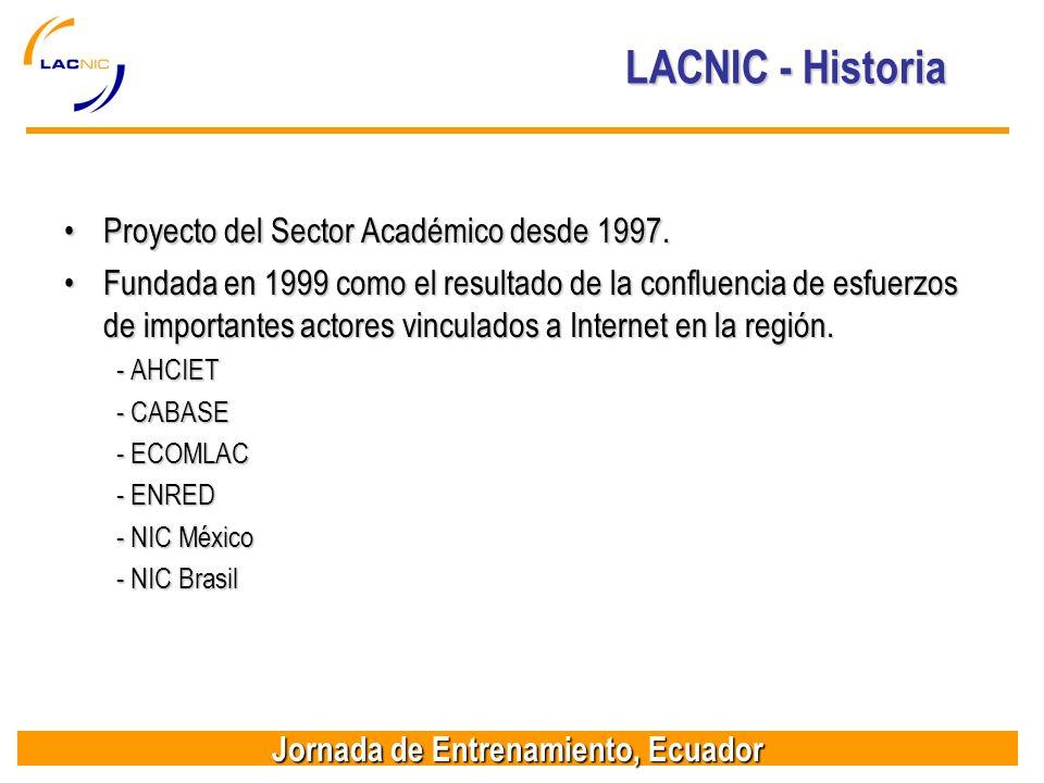 Jornada de Entrenamiento, Ecuador LACNIC - Historia Proyecto del Sector Académico desde 1997.Proyecto del Sector Académico desde 1997.