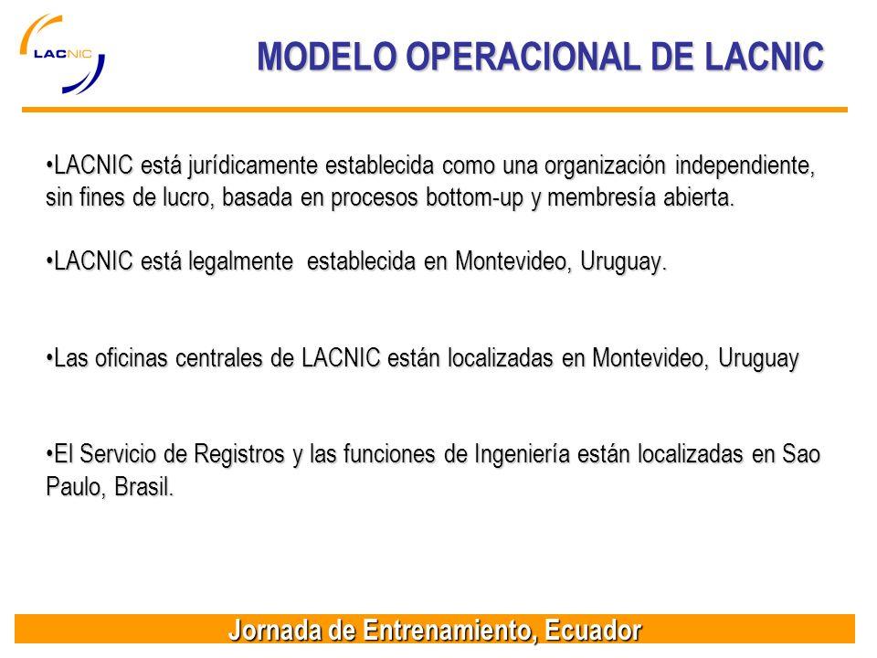 Jornada de Entrenamiento, Ecuador MODELO OPERACIONAL DE LACNIC LACNIC está jurídicamente establecida como una organización independiente, sin fines de lucro, basada en procesos bottom-up y membresía abierta.LACNIC está jurídicamente establecida como una organización independiente, sin fines de lucro, basada en procesos bottom-up y membresía abierta.