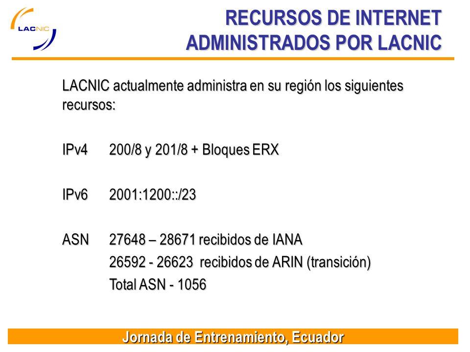 Jornada de Entrenamiento, Ecuador RECURSOS DE INTERNET ADMINISTRADOS POR LACNIC LACNIC actualmente administra en su región los siguientes recursos: IPv4200/8 y 201/8 + Bloques ERX IPv62001:1200::/23 ASN27648 – 28671 recibidos de IANA 26592 - 26623 recibidos de ARIN (transición) Total ASN - 1056