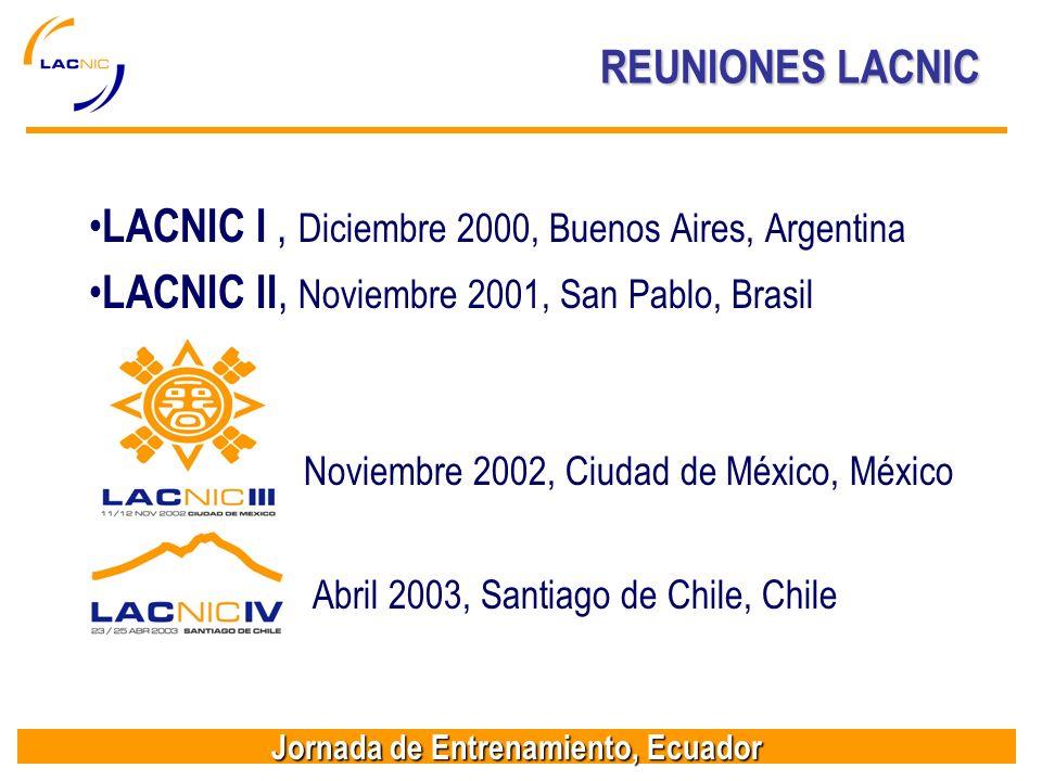 Jornada de Entrenamiento, Ecuador REUNIONES LACNIC LACNIC I, Diciembre 2000, Buenos Aires, Argentina LACNIC II, Noviembre 2001, San Pablo, Brasil Noviembre 2002, Ciudad de México, México LACNIC IV, Abril 2003, Santiago de Chile, Chile