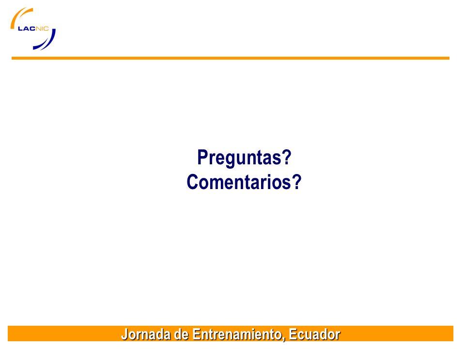 Jornada de Entrenamiento, Ecuador Preguntas Comentarios