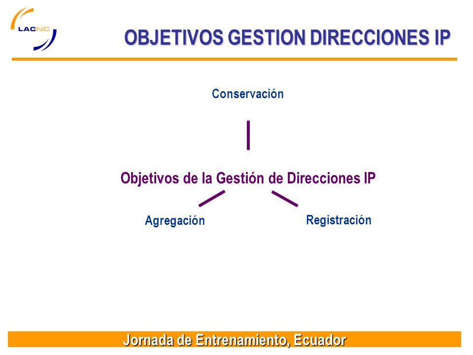 Jornada de Entrenamiento, Ecuador Objetivos de la Gestión de Direcciones IP ConservaciónRegistraciónAgregación OBJETIVOS GESTION DIRECCIONES IP