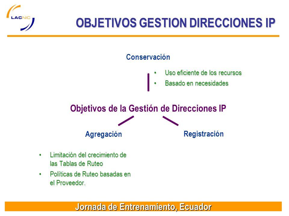 Jornada de Entrenamiento, Ecuador Uso eficiente de los recursosUso eficiente de los recursos Basado en necesidadesBasado en necesidades Limitación del crecimiento de las Tablas de RuteoLimitación del crecimiento de las Tablas de Ruteo Políticas de Ruteo basadas en el Proveedor.Políticas de Ruteo basadas en el Proveedor.