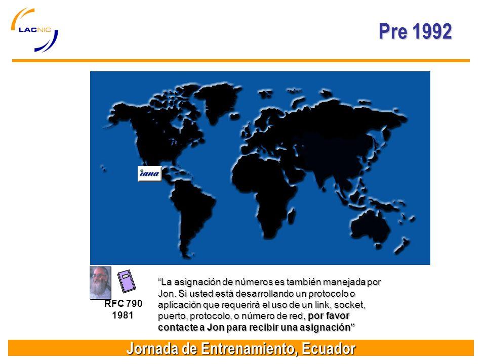 Jornada de Entrenamiento, Ecuador Pre 1992 RFC 790 1981 La asignación de números es también manejada por Jon.