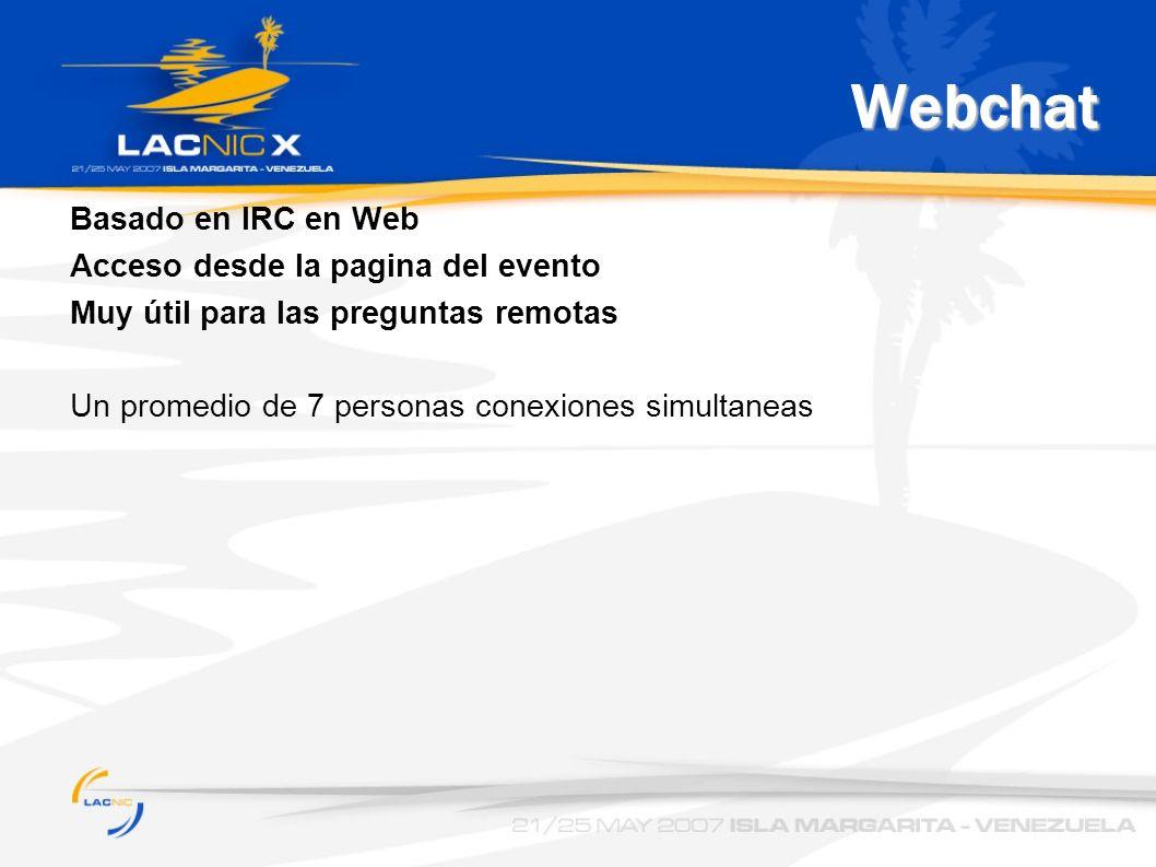 Webchat Basado en IRC en Web Acceso desde la pagina del evento Muy útil para las preguntas remotas Un promedio de 7 personas conexiones simultaneas