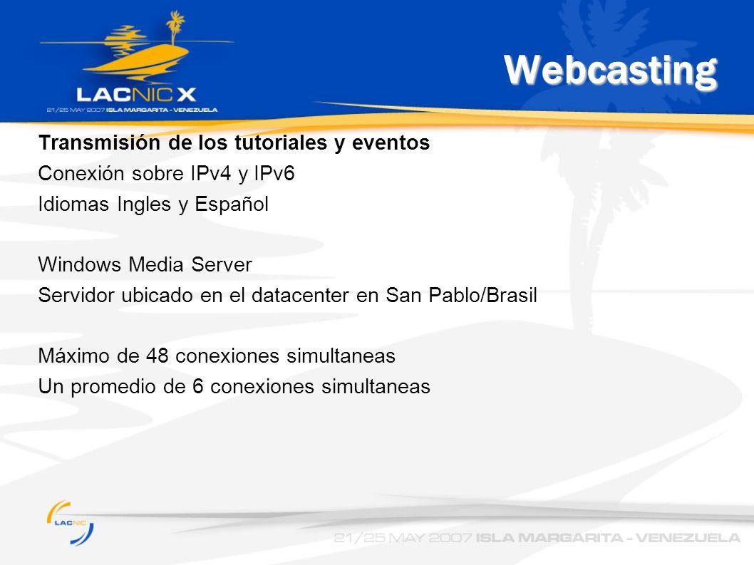 Webcasting Transmisión de los tutoriales y eventos Conexión sobre IPv4 y IPv6 Idiomas Ingles y Español Windows Media Server Servidor ubicado en el datacenter en San Pablo/Brasil Máximo de 48 conexiones simultaneas Un promedio de 6 conexiones simultaneas