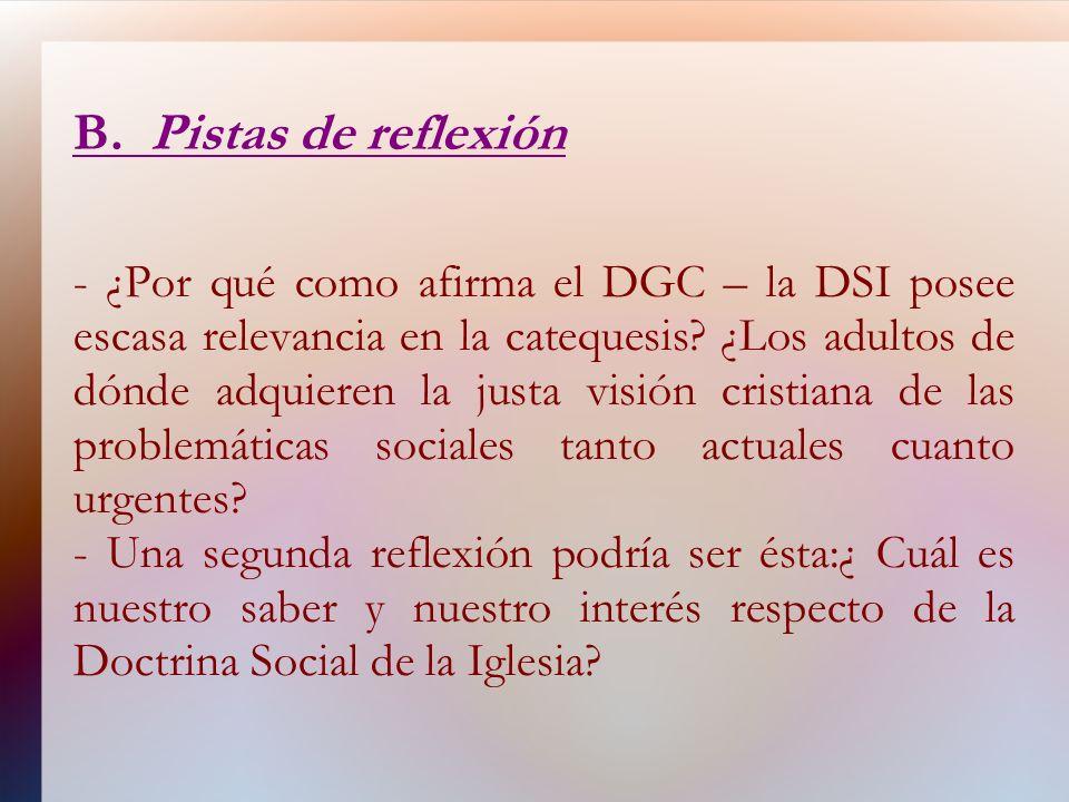 B. Pistas de reflexión - ¿Por qué como afirma el DGC – la DSI posee escasa relevancia en la catequesis? ¿Los adultos de dónde adquieren la justa visió