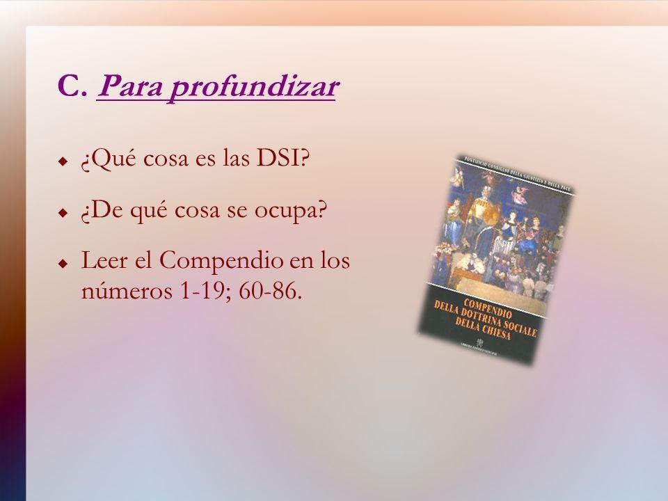 C. Para profundizar ¿Qué cosa es las DSI? ¿De qué cosa se ocupa? Leer el Compendio en los números 1-19; 60-86.