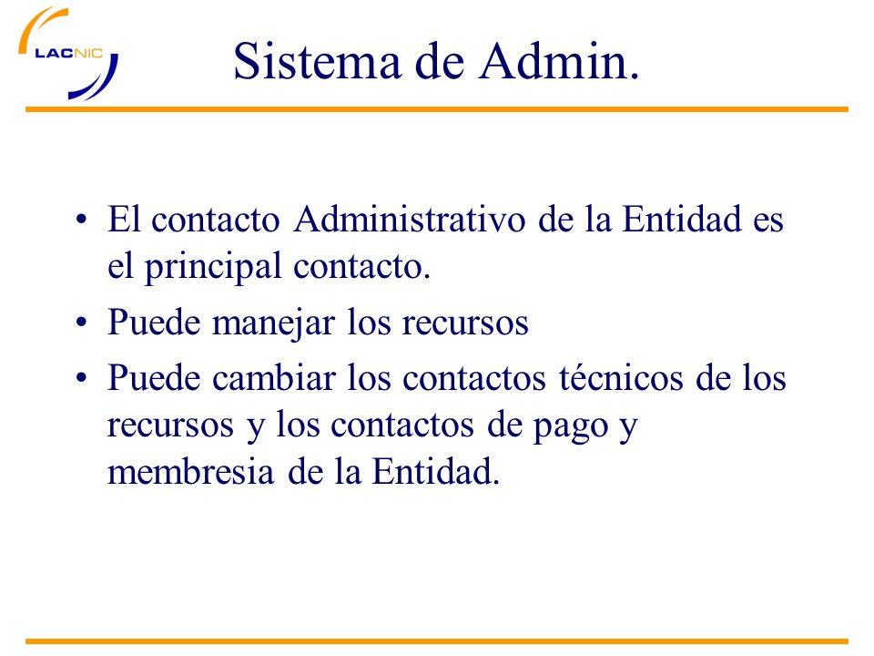 El contacto Administrativo de la Entidad es el principal contacto. Puede manejar los recursos Puede cambiar los contactos técnicos de los recursos y l