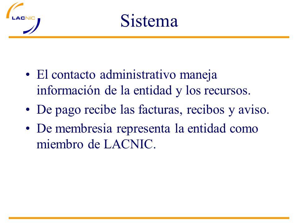 Sistema El contacto administrativo maneja información de la entidad y los recursos. De pago recibe las facturas, recibos y aviso. De membresia represe