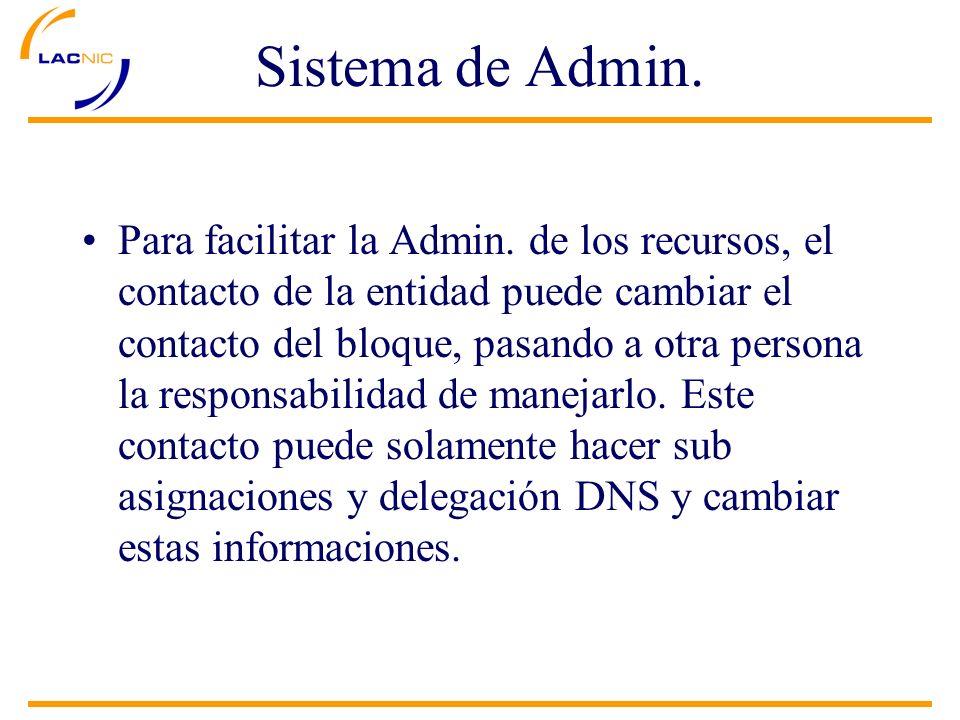 Para facilitar la Admin. de los recursos, el contacto de la entidad puede cambiar el contacto del bloque, pasando a otra persona la responsabilidad de