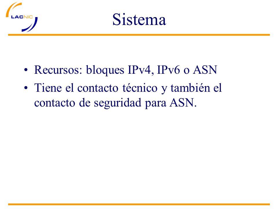 Sistema Recursos: bloques IPv4, IPv6 o ASN Tiene el contacto técnico y también el contacto de seguridad para ASN.