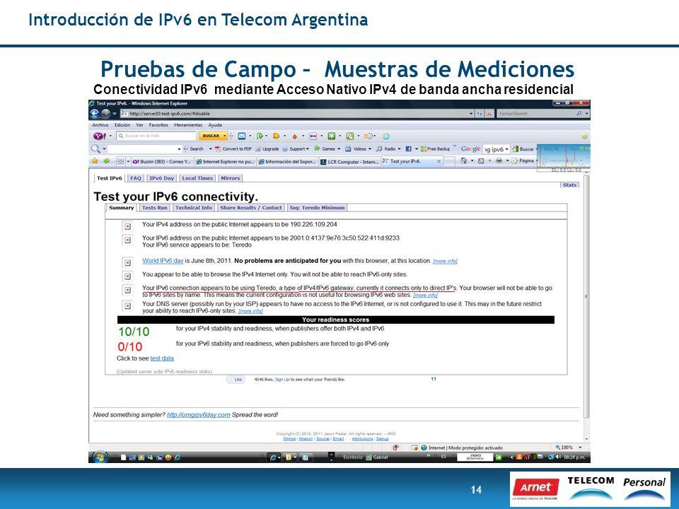 14 Introducción de IPv6 en Telecom Argentina Pruebas de Campo – Muestras de Mediciones Conectividad IPv6 mediante Acceso Nativo IPv4 de banda ancha re
