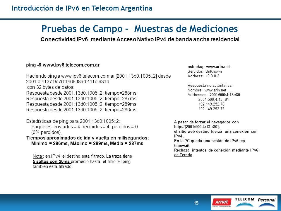15 ping -6 www.ipv6.telecom.com.ar Haciendo ping a www.ipv6.telecom.com.ar [2001:13d0:1005::2] desde 2001:0:4137:9e76:1468:f8ad:411d:931d con 32 bytes