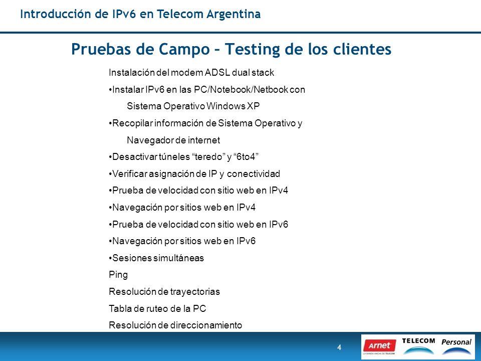 4 Instalación del modem ADSL dual stack Instalar IPv6 en las PC/Notebook/Netbook con Sistema Operativo Windows XP Recopilar información de Sistema Ope