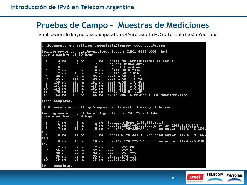 8 Pruebas de Campo – Muestras de Mediciones Introducción de IPv6 en Telecom Argentina Verificación de trayectoria comparativa v4/v6 desde la PC del cl